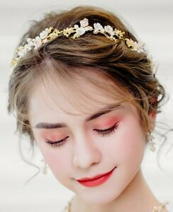 Bridal gold, peach and ivory headpiece