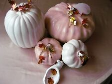 NEW 2017 Made  USA  5 pc  Elegant Seasonal Satin Glaze Ceramic  Pumpkin Ensemble