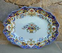 Ancien Grand Plat Ovale de Rouen,French Faience,Signe.