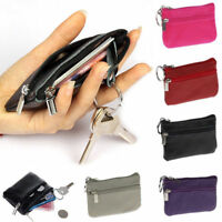Women Men Leather Zip Change Coin Purse Clutch Mini Wallet Pouch Key Card Holder