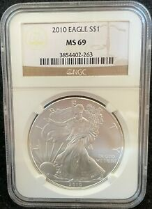 2010 $1 AMERICAN SILVER EAGLE S$1 NGC MS 69 263