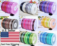 "SATIN RIBBON 100% POLYESTER 100 YARD ROLL 1/4"" 3/8"" 1/2'' 5/8"" 7/8"" 1.5"""
