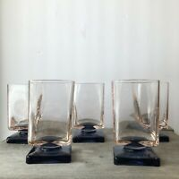 Mid Century Modern Rocks Glass LowBall Drinking Square Pedestal Pink Blue Set 5