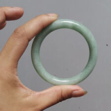 Grade A Natural Chinese Icy Milky Green Jadeite Jade Bangle Bracelet Round 60MM