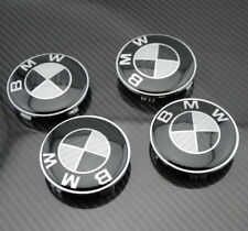 (Next Day Delivery) 4 BMW Black Carbon Style Alloy Wheel Center Caps 68mm 1 3 5