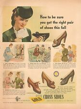 626 Vintage WWII 1940's ad for Gold Cross Shoes, Ladies Shoes by U.S. Shoe Corp.