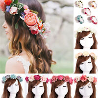 Women Boho Flower Floral Hairband Headband Crown Party Bride Wedding Beach UK