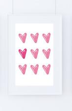 A4 print - pink - hearts - little girls bedroom art
