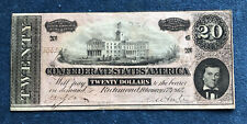 USA CONFEDERATE STATES OF AMERICA 20 DOLLARS BANKNOTE 1864