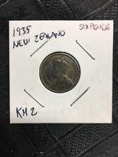 1935 NEW ZEALAND SIXPENCE.500 SILVER 6 PENCE Key Date  KM 2