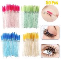 50Pcs/Set Disposable Crystal Eyelash Brush Mascara Wands Applicator Makeup Tool