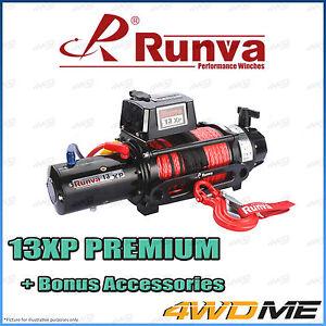 RUNVA 13XP Premium IP67 WATERPROOF 12V W/DYNEEMA ROPE Recovery Winch + Extras