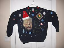 Zombie Trump Ugly Christmas Sweater Sweatshirt Men's Extra Large Navy Blue Tacky