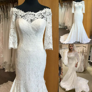 3/4 Sleeves Off the Shoulder Mermaid Wedding Dresses Full Lace Sweep Train Bride