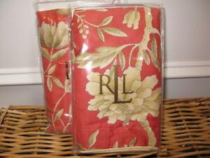 2 Ralph Lauren VILLA CAMELIA FLORAL Standard Shams NIP Paprika Red