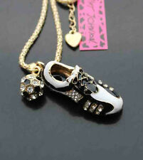 #J577 Betsey Johnson Crystal Enamel Football Soccer Shoes Pendant Necklaces