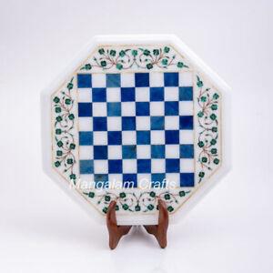 "18"" Marble Chess Table Top Semi precious stones Inlay Work Home Decor"