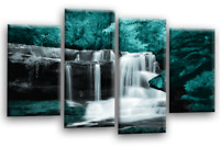 Forest Waterfall Wall Art Teal Blue Purple Picture Canvas Print 4 Panel SET 1
