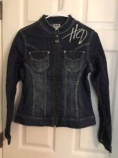 HARLEY-DAVIDSON Ladies Jeweled Stretch Denim Jacket Size SMALL