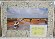 Luxury Handmade Personalised Large A4 BIRTHDAY CARD Beach Boats The Tide Is Out