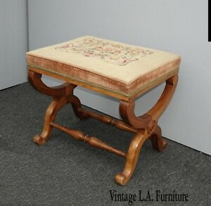 Vintage French Country Tan Floral Needlepoint Bench Stool Farmhouse Chic