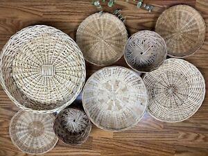 Set Of 8 Wicker Baskets Boho Rattan Basket Wall Decor