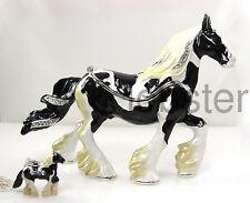 GYPSY VANNER HORSE FINE ENAMEL TRINKET BOX BEJEWELED CRYSTALS includes necklace