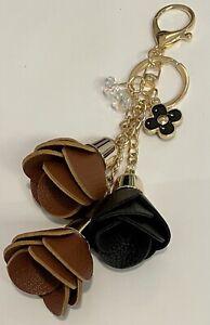 FLORAL REDDISH BROWN BLACK FAUX LEATHER ROSE TASSEL GOLD TONE CRYSTAL BAG CHARM