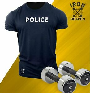 Police T Shirt Gym Clothing Bodybuilding Training Workout Exercise MMA Men Top