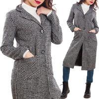 Cappotto donna monopetto pied de poule lungo giaccone inverno nuovo GI-8272