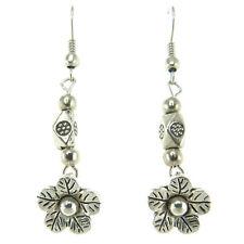Boucles D'oreilles Argentées perles et petite fleur en Argent Tibetain argentées