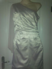 Lipsy Silver Satin Ruched Cocktail Dress with Chiffon Slit Sleeve UK12 BNWoT