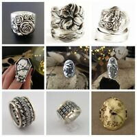 925 Silver Boho Hamdmade Rings Vintage White Sapphire Jewelry Women Ring Sz 6-14