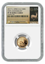 2017 South Africa 1/10 oz Gold Krugerrand NGC PF70 UC Exclusive Label SKU45655