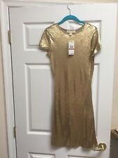 Michael Kors Women's Gold Sequin T Shirt Dress Size XS Extra Small NWT $295