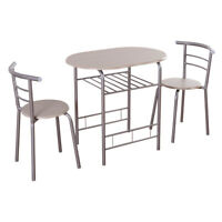 3 PCS Dining Set Table & 2 Chairs Bistro Pub Home Kitchen Breakfast Furniture