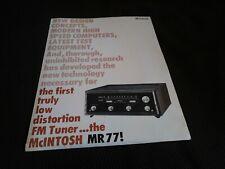 McIntosh MR77 FM Tuner Sales Brochure