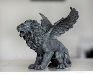 Mythical Gothic Winged Lion Guardian Gryphon Gargoyle Statue 'Stone' Superb