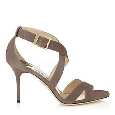 Jimmy Choo 'Louise' Mink Suede Heels Sandals Strappy EU 3 Uk 36 New