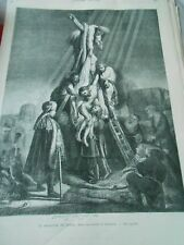 Gravure 1871 - La descente de Croix d'après eau forte de Rembrandt