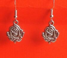 Dangle/Drop Earrings 925 Silver Hooks: Uk Pretty, Dainty Silver Tone Rose Flower