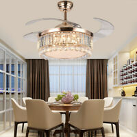 "42"" Crystal Ceiling Fan Light LED Chandelier Insivible Fan Lamp Remote Rose Gold"