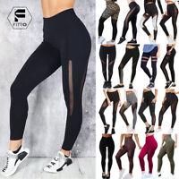 Womens High Waist Yoga Pants Fitness Mesh Leggings Workout Butt Lift Stretch AM