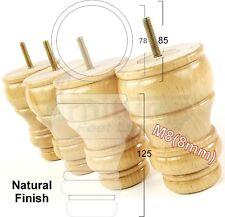 4x WOODEN BUN FEET FURNITURE LEGS FOR SOFA, CHAIRS, STOOLS 125mm HIGH M8(8mm)