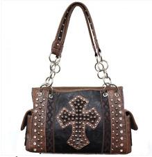 Concealed Carry Gun Handbag Case Rhinestone Womens Purse Bling Cross Black Brown