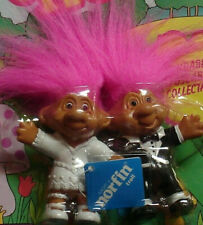 Bride and Groom trolls vintage 1992 rare wedding bend-ems Norfin new in package