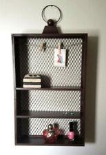 Rustic Metal Rectangle Hanging 3-Shelf Wall Unit Wire Mesh Brown