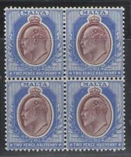 MALTA SG52 1904 2½d MAROON & BLUE BLOCK OF 4 MTD MINT