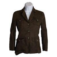 Womens Theory Brown Linen Blend 4 Pocket Military Safari Jacket Size 2
