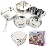 6PCS Stainless Steel Camping Cookware Outdoor Picnic Cooking Pot BBQ Hiking Set